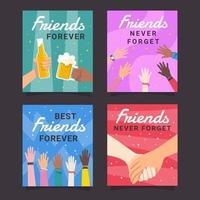 coleção de cartões de melhores amigos vetor