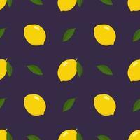Primavera brilhante sem costura e padrão de verão com limão e fatias em um fundo escuro. um conjunto de frutas cítricas para um estilo de vida saudável. ilustração em vetor plana de alimentos saudáveis