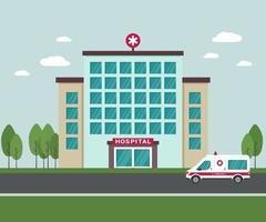edifício do hospital médico do lado de fora. uma ambulância ao lado do prédio do hospital. Vista externa de centro médico isolado com árvores e nuvens ao fundo vetor
