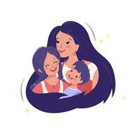 mãe abraça seu filho e filha. família feliz. amor de mãe pelas crianças. dia internacional da maternidade, dia da mulher. paternidade e carinho vetor