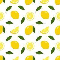 Primavera brilhante sem costura e padrão de verão com limão e fatias em um fundo branco. um conjunto de frutas cítricas para um estilo de vida saudável. ilustração em vetor plana de alimentos saudáveis