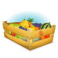 Cesta de frutas orgânicas saudáveis vetor