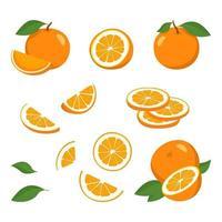 conjunto de ícones laranja. fruta inteira brilhante, meia, fatias com folhas. alimentos para uma dieta saudável, sobremesa, tangerina doce, limonada. elementos para design de primavera e verão vetor