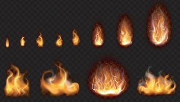 conjunto de imagens realistas de chamas de fogo em 3D vetor