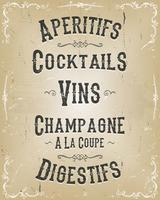Menu de Cartazes de Bebidas Alcoólicas e Bebidas vetor