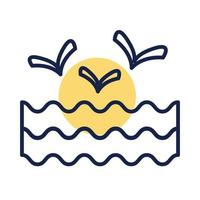 água das ondas do mar com estilo de linha de bloco de gaivotas vetor