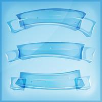 Banners e fitas transparentes de vidro ou cristal vetor