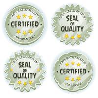 Selos de qualidade premium de prata dos desenhos animados