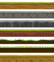 Terreno sem emenda, solo e grama para jogo de interface do usuário vetor