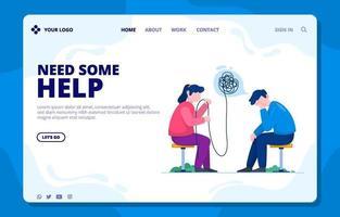 página de destino de prevenção de suicídio vetor