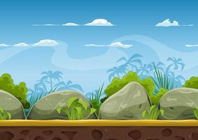 Paisagem de praia tropical sem costura para jogo de interface do usuário