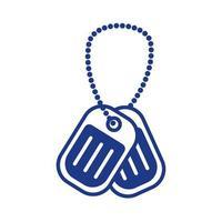 ícone de estilo de linha de colar de identificação militar vetor