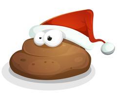 Estrume engraçado com chapéu de Santa