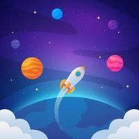 foguete voando para o espaço com estrelas e planetas vetor