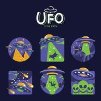 pacote de ícones de objetos voadores não identificados vetor