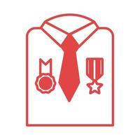 camisa militar com ícone de estilo de linha de medalhas vetor