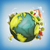 Planeta Terra Com Casa, Natureza E Cidade Ao Redor vetor