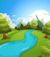 Paisagem de montanhas de verão dos desenhos animados