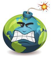 Personagem de bomba de advertência do planeta Terra vetor