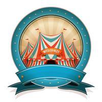 Emblema De Circo Do Vintage Com Fita E Big Top vetor