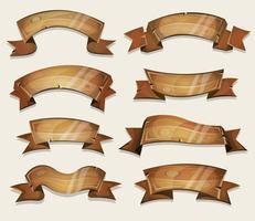 Banners de madeira dos desenhos animados e fitas para jogo de interface do usuário vetor
