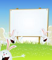 Mensagem de coelhinhos da Páscoa de primavera na placa de madeira vetor