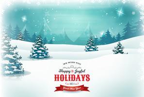 Natal vintage e paisagem de ano novo vetor
