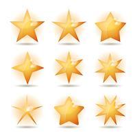 Conjunto de ícones de estrelas de ouro