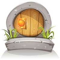 Porta de Hobbit de madeira e pedra dos desenhos animados para jogo de interface do usuário