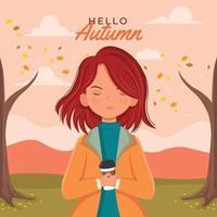 mulher segurando uma caneca de café enquanto aproveita o outono vetor