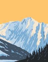 cume do pico eldorado na cabeceira do riacho de mármore e geleira de inspiração localizada no parque nacional das cascatas ao norte na arte de pôster de Washington vetor