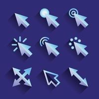 seta mouse conjunto de ícones de cursor vetor