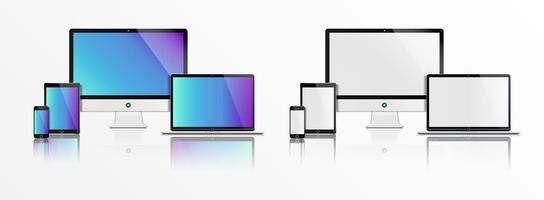 maquete de computador portátil, tablet e telefone realista vetor