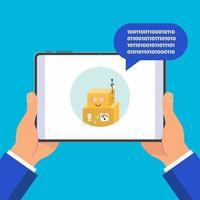 mãos segurando um dispositivo tablet preto isolado no fundo azul do tablet no ícone do bot de bate-papo de mãos humanas e bolha de bate-papo estourada acima do dedo do ponteiro de ilustração vetorial design plano toque na tela vetor