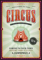 Cartaz de circo vintage com raios de sol