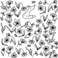 raposa padrão de verão em um prado de flores com borboletas vetor