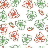 mão desenhada vetor verão sem costura padrão de flores e borboletas