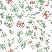 mão desenhada verão sem costura padrão de flores e folhas vetor