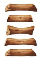 Logs de madeira e conjunto de pranchas vetor