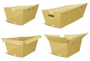 Conjunto de caixa de papelão de desenhos animados vetor