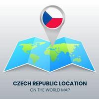 ícone de localização da república tcheca no mapa mundial, ícone de alfinete redondo da tcheca vetor