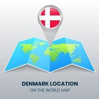 ícone de localização da Dinamarca no mapa-múndi, ícone de alfinete redondo da Dinamarca vetor