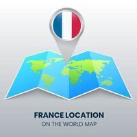 ícone de localização da França no mapa mundial, ícone de alfinete redondo da França vetor