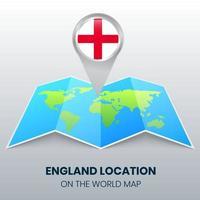 ícone de localização da inglaterra no mapa mundial, ícone de alfinete redondo da inglaterra vetor
