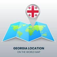 ícone de localização da Geórgia no mapa mundial, ícone de alfinete redondo da Geórgia vetor