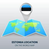 ícone de localização da estônia no mapa mundial, ícone de alfinete redondo da estônia vetor