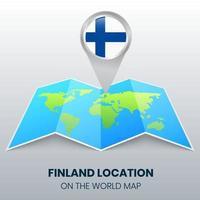 ícone de localização da Finlândia no mapa mundial, ícone de alfinete redondo da Finlândia vetor