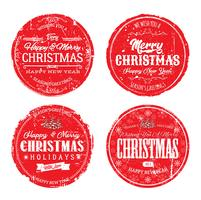 Emblemas de feliz Natal grunge vetor