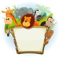 Animais selvagens, jardim zoológico, sinal madeira vetor