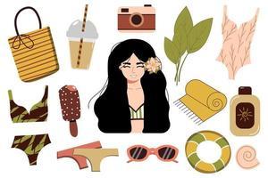 um conjunto de coisas de verão para a praia viajar para um país ensolarado garota feliz de biquíni descansando no mar uma mulher de maiô se bronzeando e relaxando perto da água vetor
